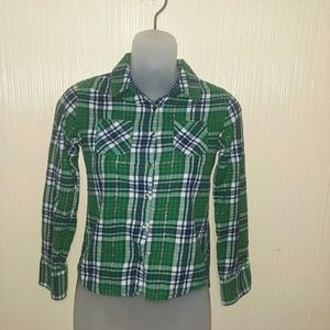 Justice size 10 green plaid flannel shirt